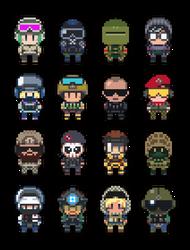 Rainbow Six Siege Character Pixel Art by gramoxon