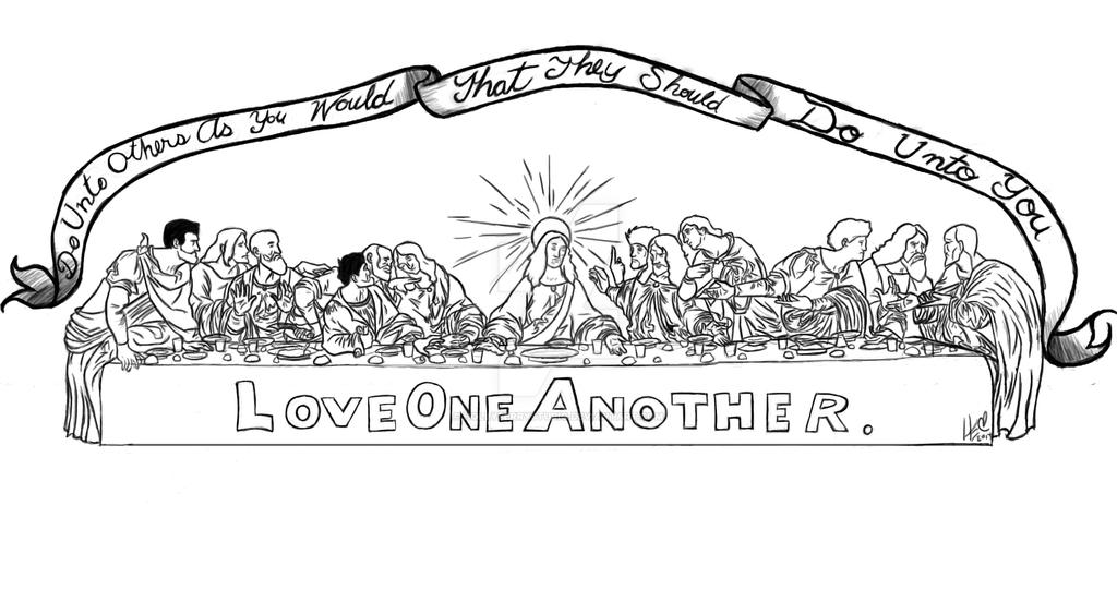 leonardo da vinci the last supper coloring page - last supper tattoo commission by hollyberrystudio on