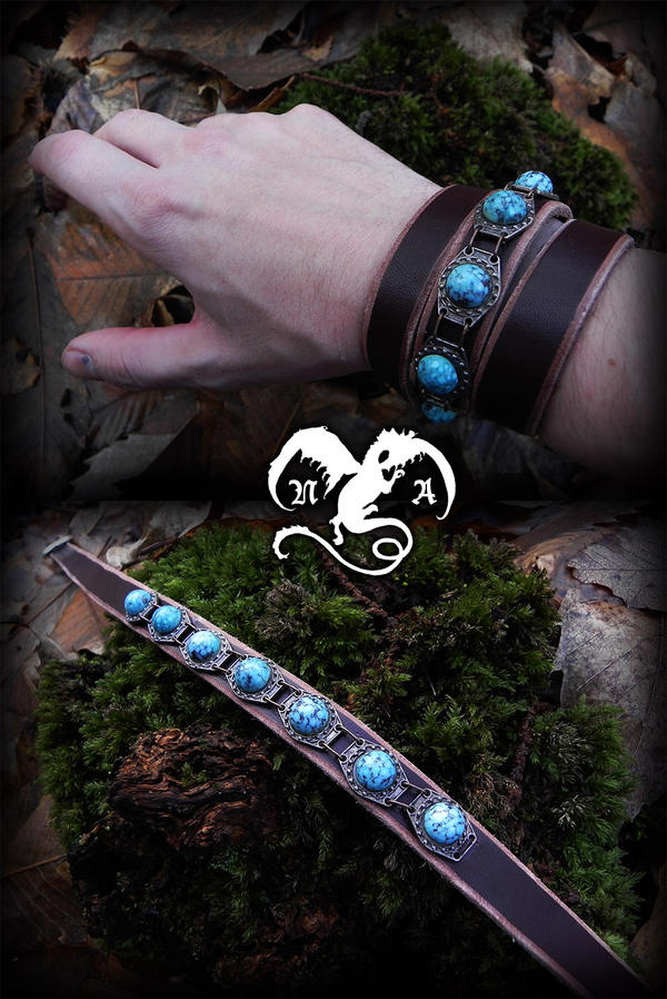 Turquoises bracelet by Noir-Azur