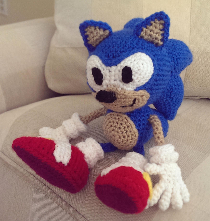 Stuffed Hedgehog Knitting Pattern : Crocheted Sonic the Hedgehog by Yodaman921 on DeviantArt