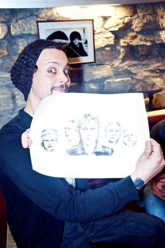Ville Valo holding my drawing by Lemonkiisu