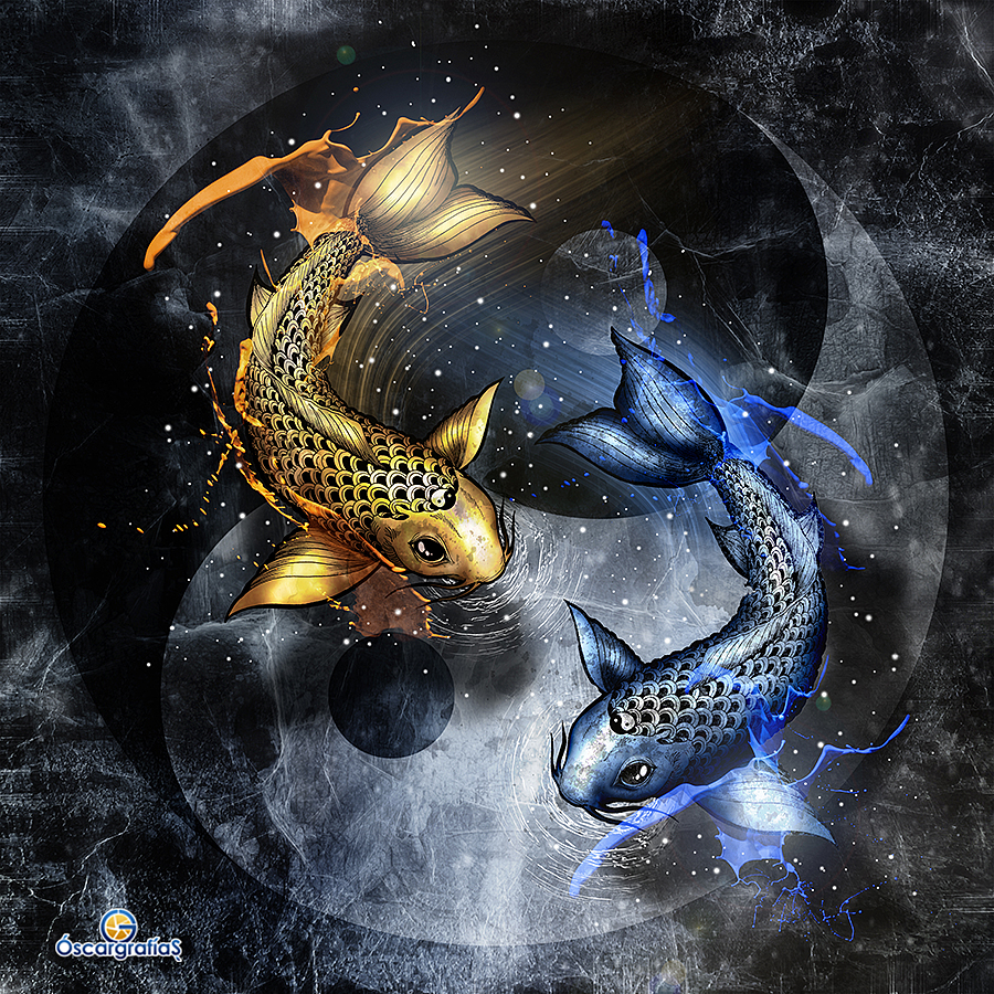 Yin yang by oscargrafias on deviantart for Blue koi fish meaning