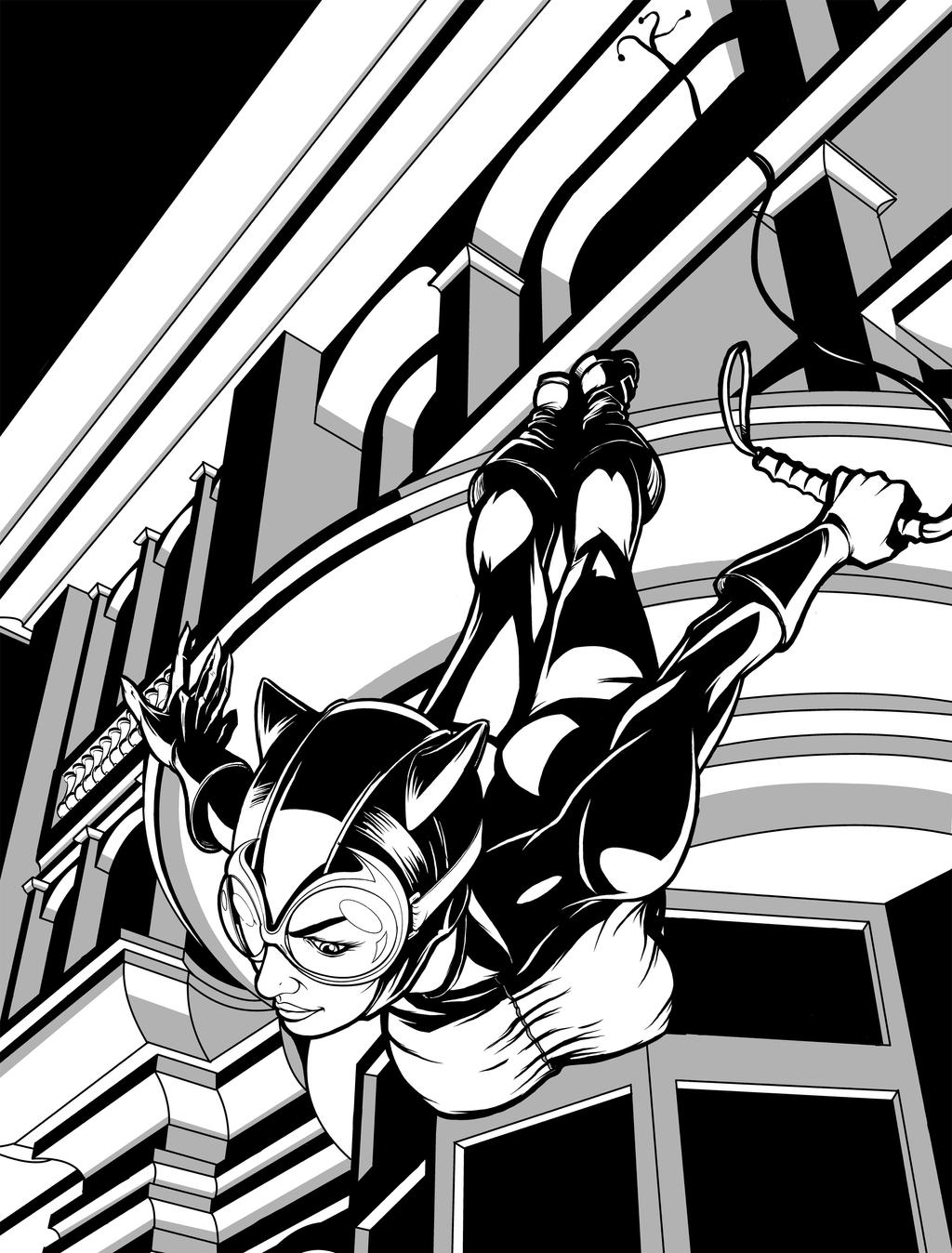 Catwoman leaping by JarOfComics