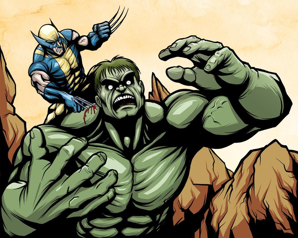 Hulk vs Wolverine Color by JarOfComics