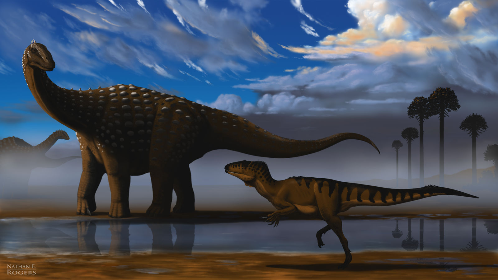Diamantinasaurus and Australovenator by MicrocosmicEcology