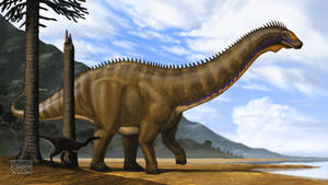 Apatosaurus excelsus and Ornitholestes hermanni