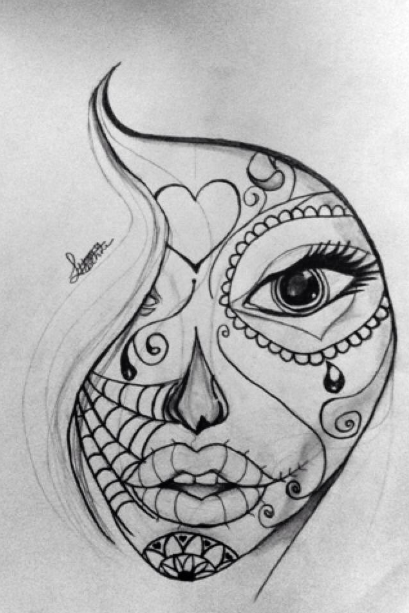 Drawing 1 Sugar Skull Doodle By 50ShadesofAwkward