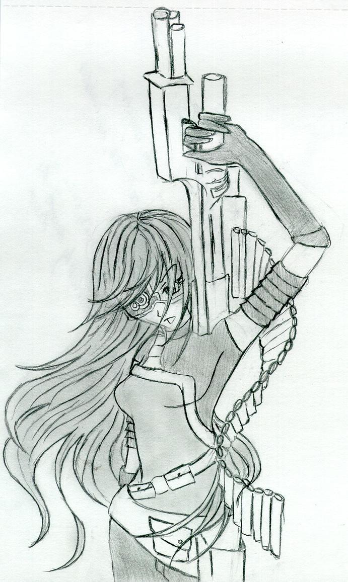 Anime Girl Gun Upwards By Angel 180