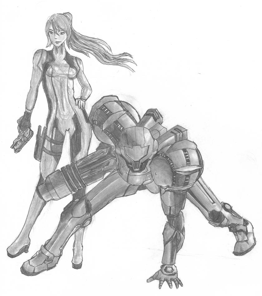 Samus Aran (Zero Suit and Suit) by DrinkCactusJuice