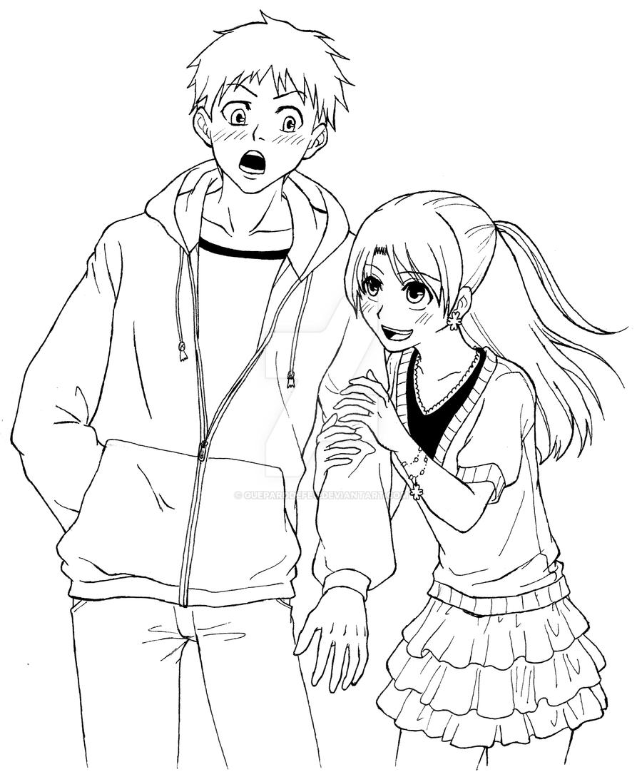 Line Drawing Boy : Boy and girl to an appointment by gueparddefeu on deviantart