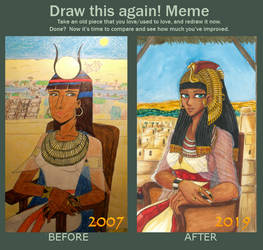 Draw this again! Meme - Egyptian Mona Lisa