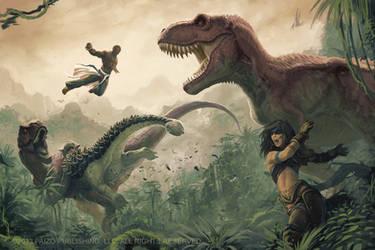 Mythic Amiri and Mythic Sajan VS Dinosaurs by Akeiron