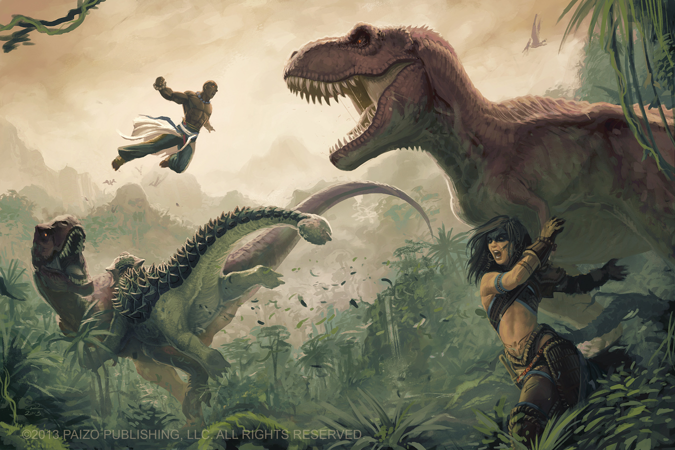 Mythic Amiri and Mythic Sajan VS Dinosaurs by Akeiron