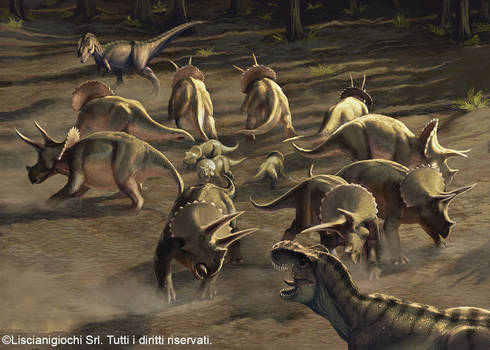 Herd of Triceratops defending their youngs