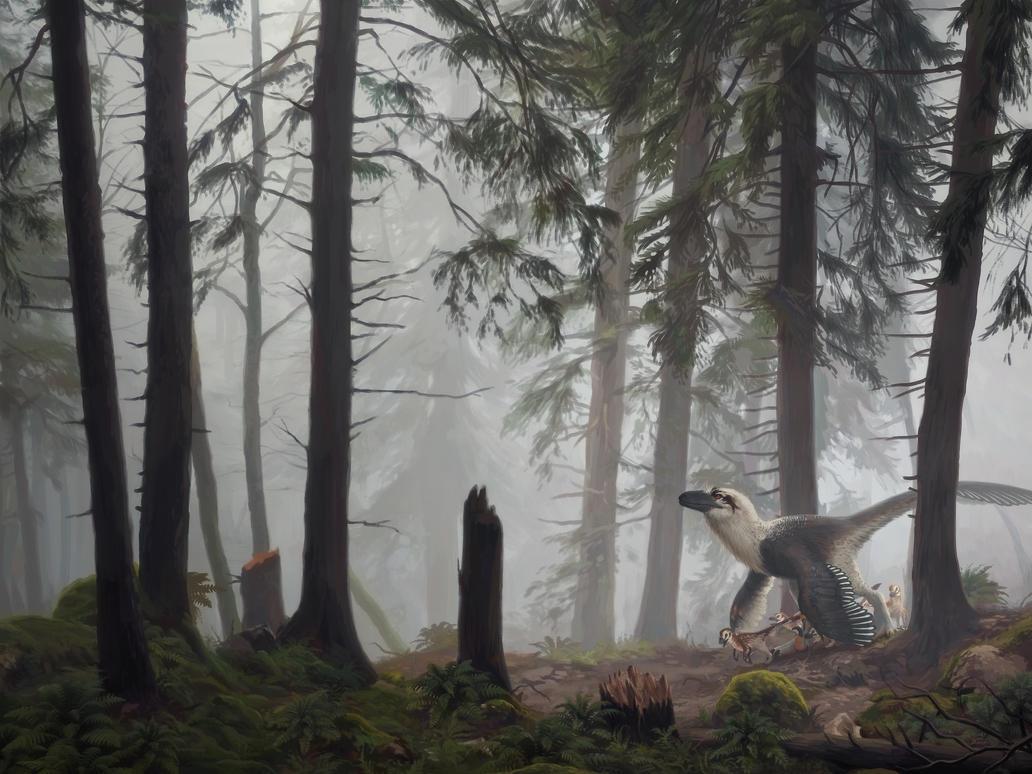 Dakotaraptor with hatchlings by Akeiron