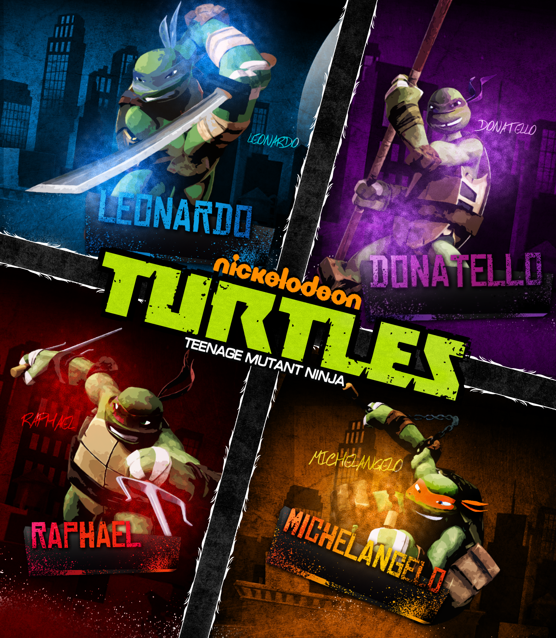Nickelodeon TMNT 2012 Poster by THE-MFSTER-DESIGNS
