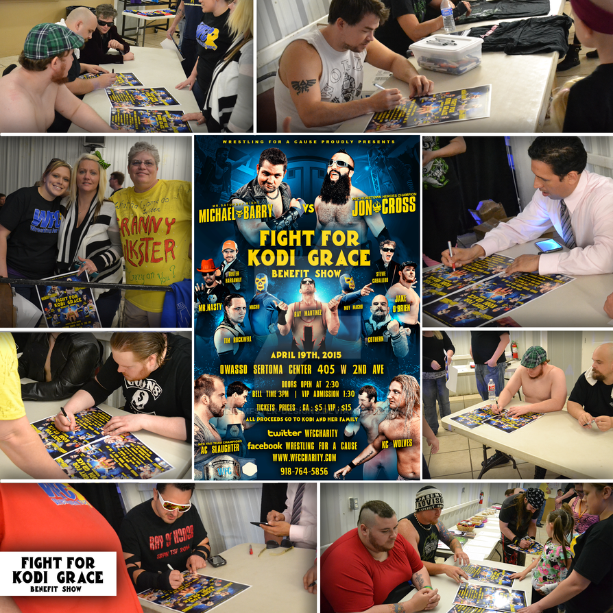 My recent WFC flyer being signed by WFC wrestlers by Mohamed-Fahmy