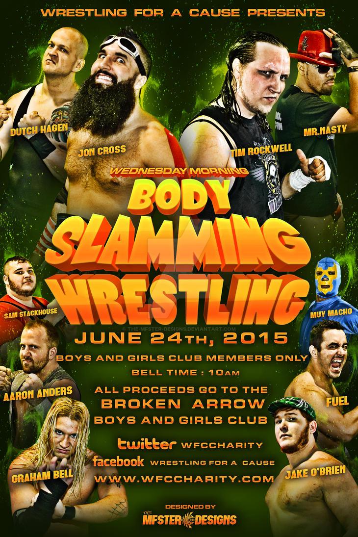 WFC Wednesday morning bodyslamming wrestling flyer by Mohamed-Fahmy