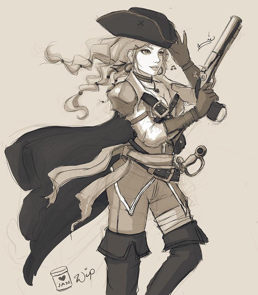 WIP Sketch - Pirate Queen by zienta