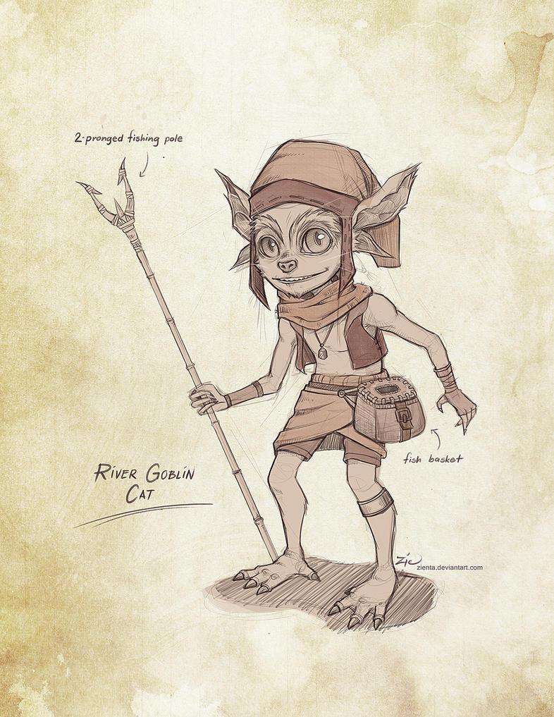 River Goblin Cat - Sketch by zienta