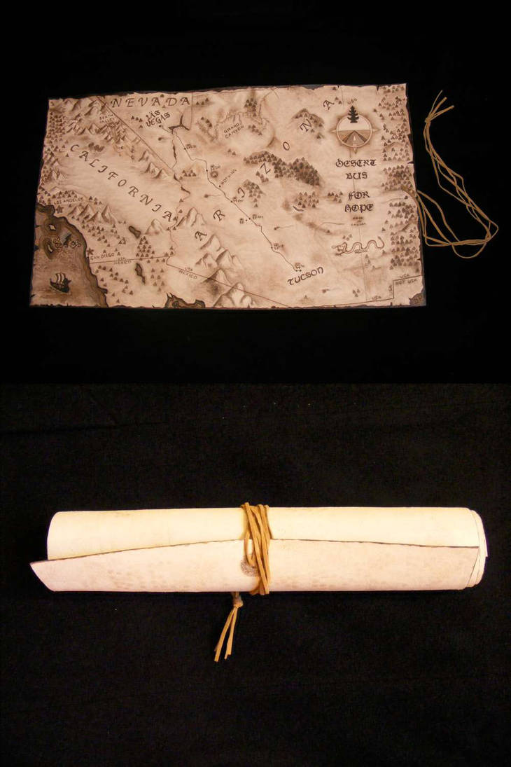 Desert Bus Map - Leather Playmat by Dandy-L