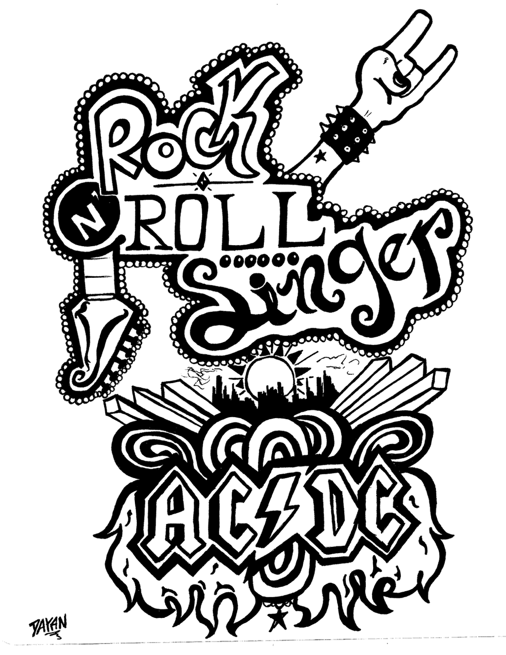 Heavy metal band coloring pages