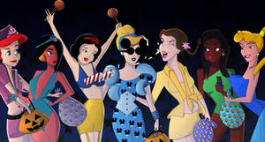 Disney Princesses on Halloween by namehmakki