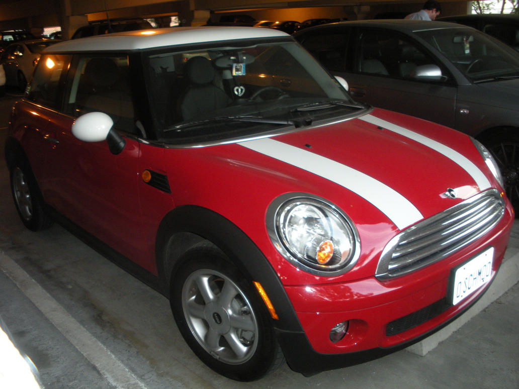 Red Mini Cooper With White Stripes By Rlkitterman On