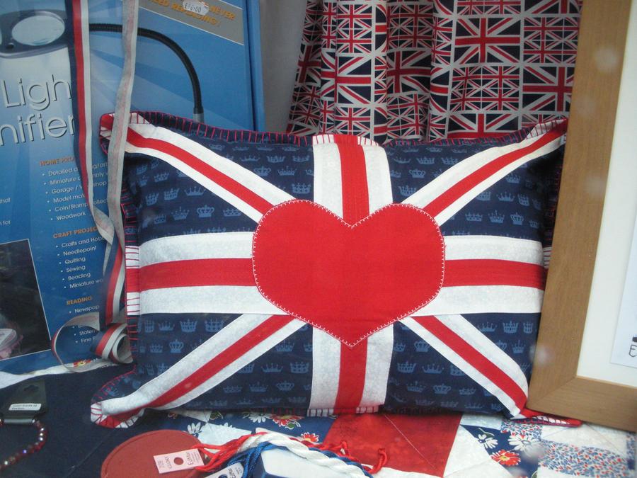 Union Flag Heart Pillow by rlkitterman