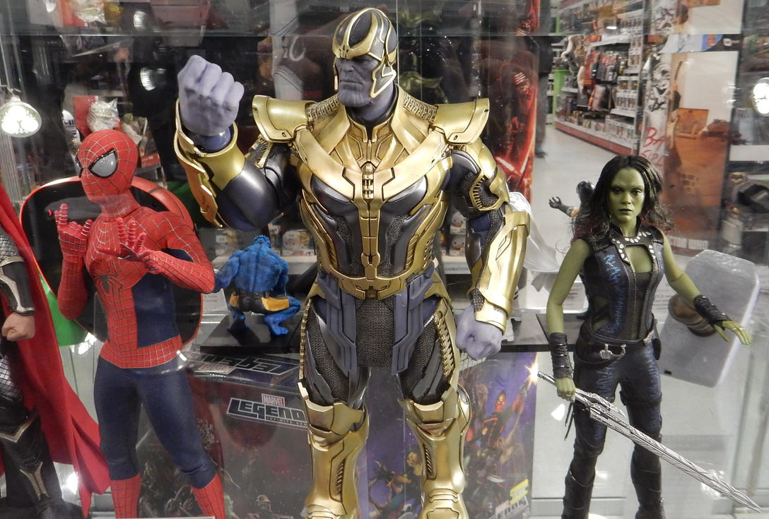 Spider-Man, Thanos, and Gamora at Forbidden Planet by ...