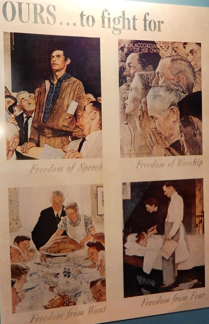 four freedoms Freedom of speech, freedom of worship, freedom from want, and freedom from fear the four freedoms were goals articulated by united states president franklin d roosevelt on january 6, 1941.