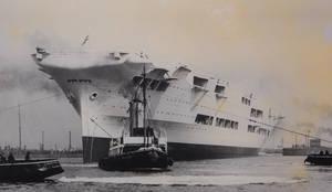 HMS Ark Royal Launch in 1937 by rlkitterman