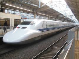 Westbound JR 700 Shinkansen Leaves Kyoto for Osaka