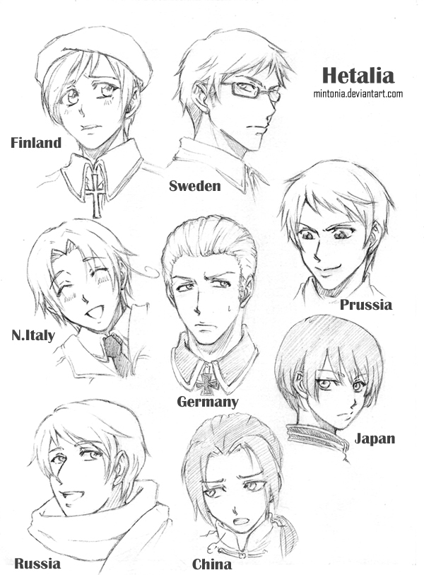 Hetalia Sketches -page 1- by Mintonia