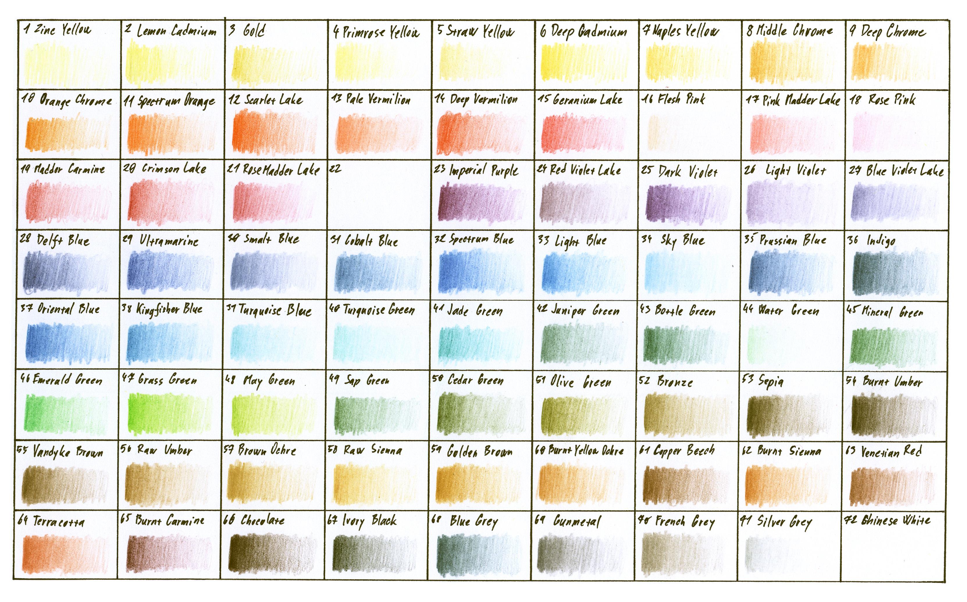 Colour chart - Derwent Studio range
