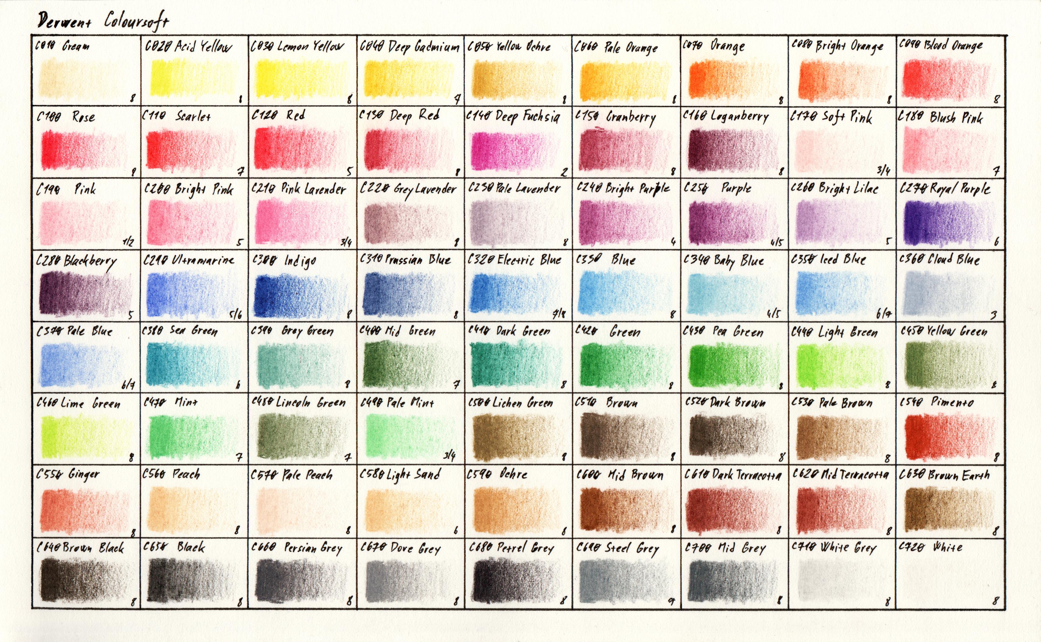 Colour chart - Derwent Coloursoft range