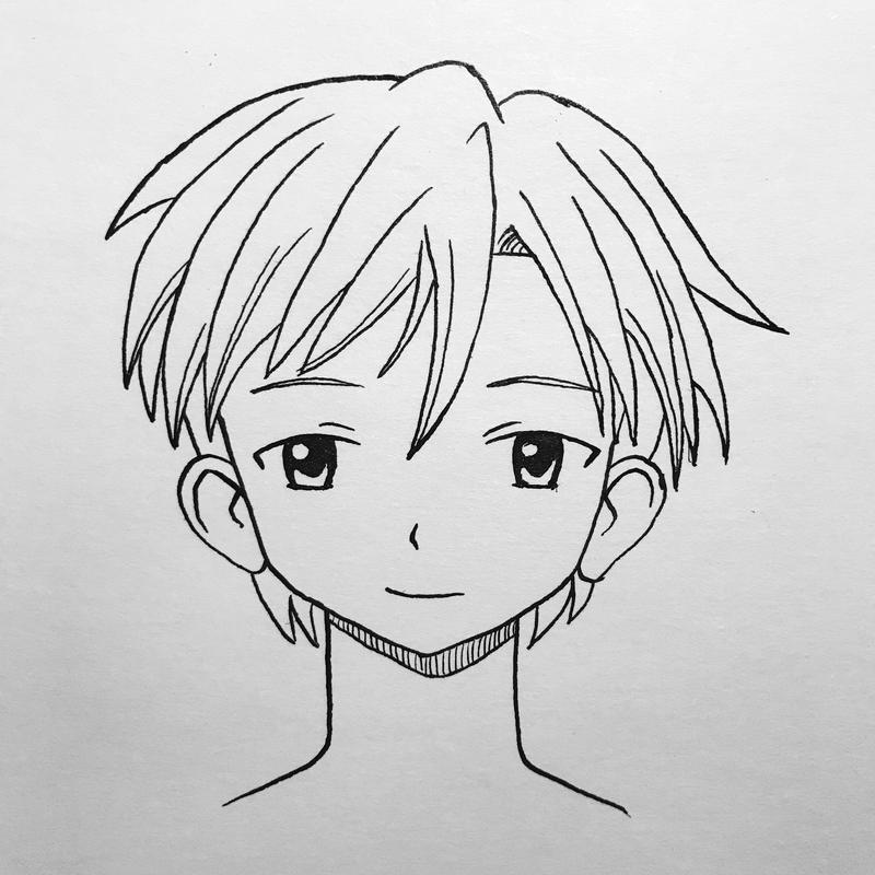 Manga face practice - front male