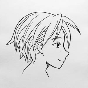 Manga face practice - male profile