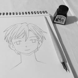 Manga face ractice - male profile ready to inking