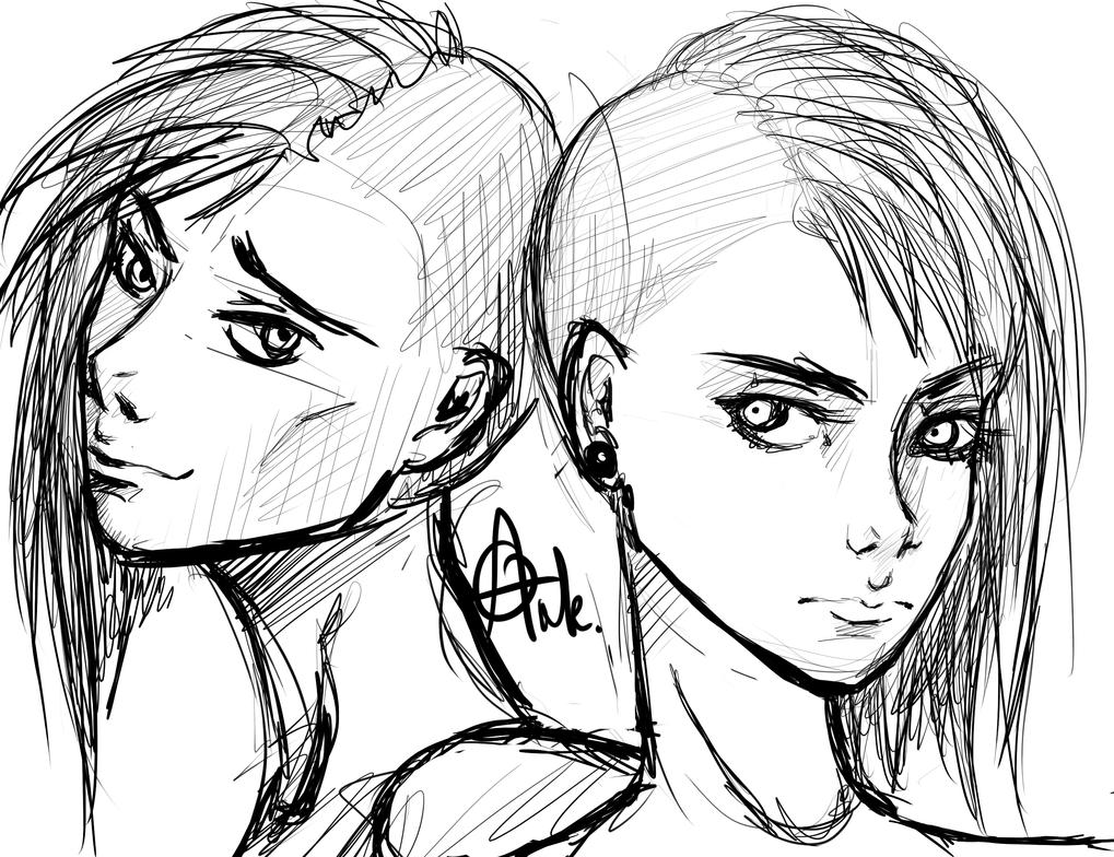 Twins Sketch Ank Punk Deviantart