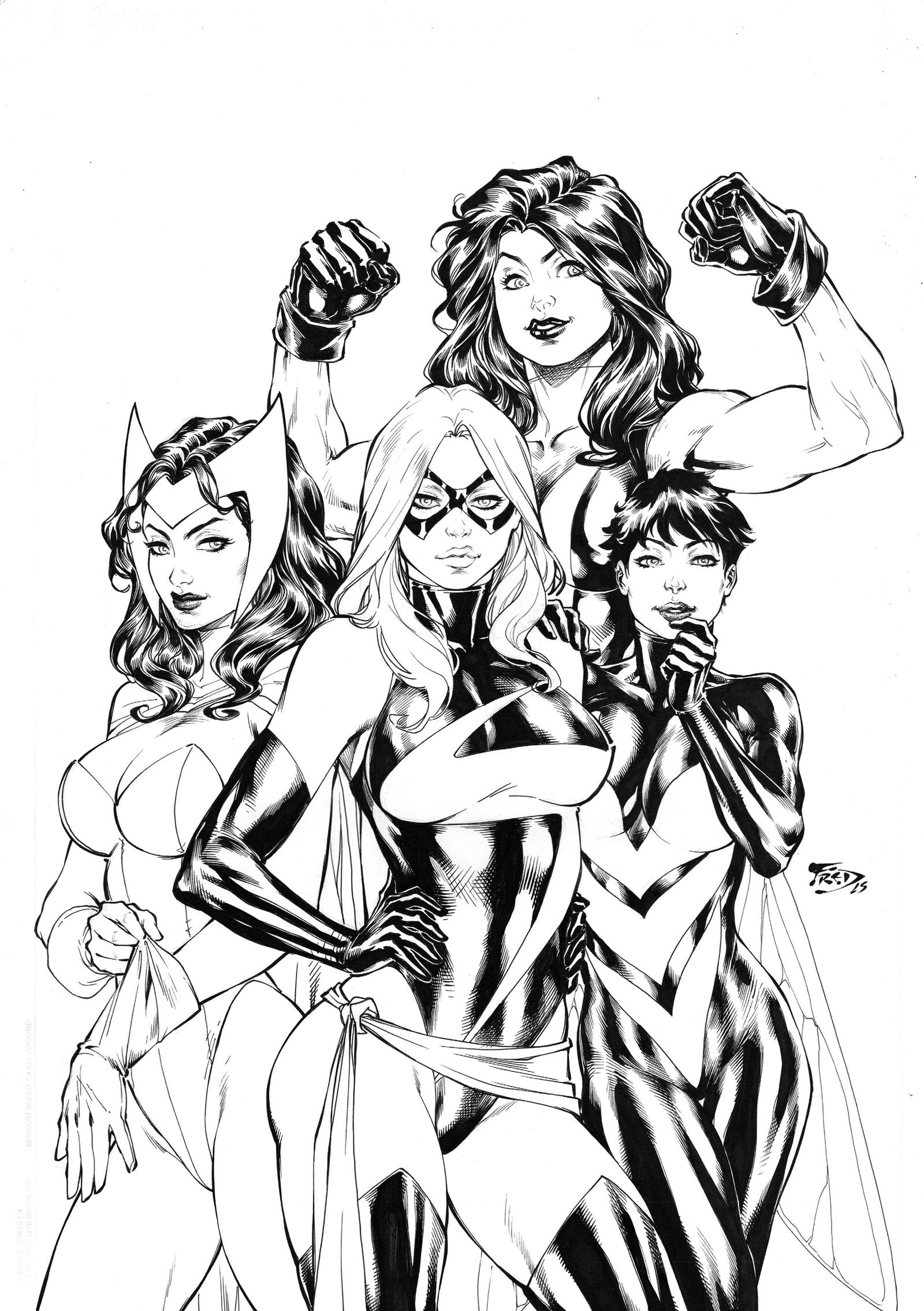 Line Art Comic : Avengers girls by fredbenes on deviantart