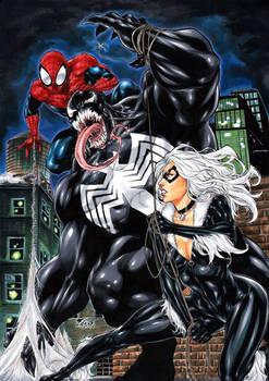 Spiderman and Black cat VS Venom