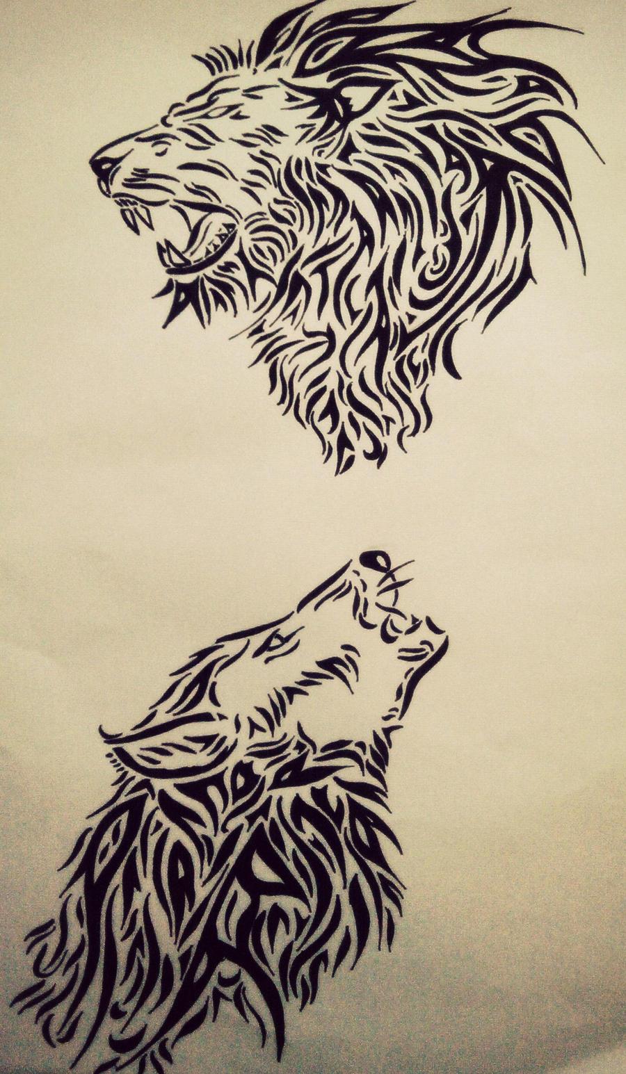wolf fighting lion. Black Bedroom Furniture Sets. Home Design Ideas