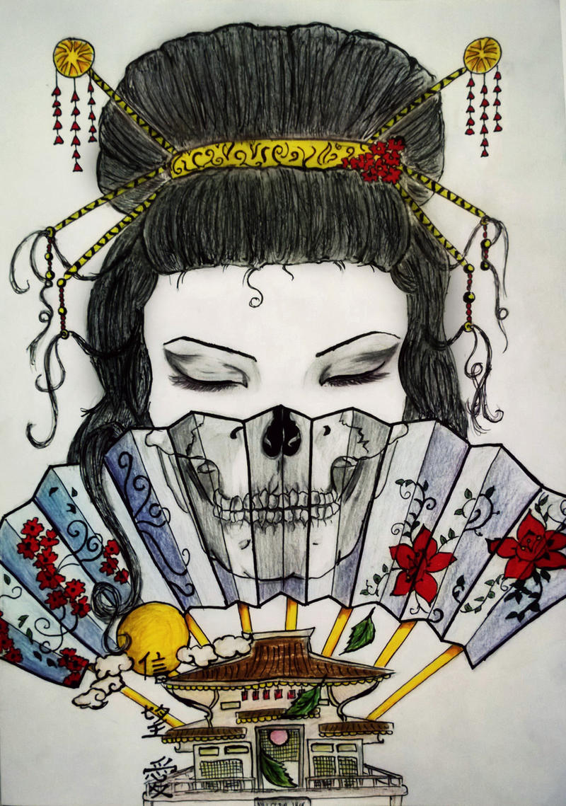 Geisha skull fan by tattoo-love-forever