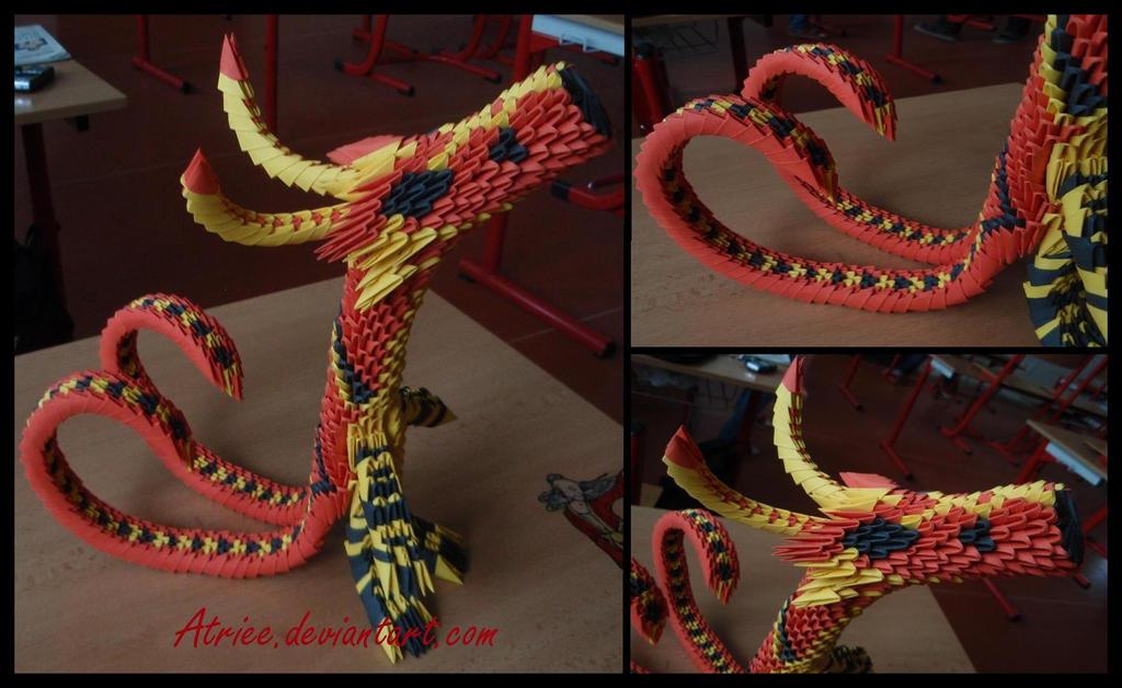3D origami dragon by Atriee
