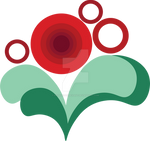 Red and Green Stylized Vector Flower
