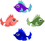 Fish Characters - Monochrome Color Study V1