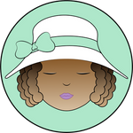 Curly-Haired Girl in White Hat w/ Mint Green Bow