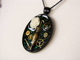 Steampunk themed necklace by OkeMani