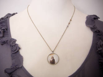 Necklace with cemetery crow in sepia by OkeMani